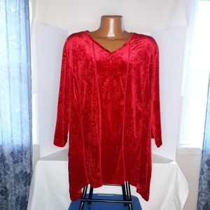 Catherine's red women's blouse 3/4 sleeve Size 3X